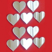 Decorative Mini Heart Mirror Bundle - Pack of Ten (4 x 3 cm) - Mirrored