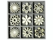cArt-Us 10.5 x 10.5 cm Wooden Box with Fantasy Flowers Ornaments, Natural