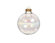 6 Large Iridescent Glass Ball Christmas Bauble Ornaments - 70mm