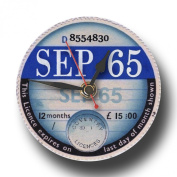 September 1965 Retro Tax Disc Clock, Boxed. Ideal 50th Birthday Gift
