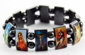 Bracelet Icon Magnetic Hematite Jesus And Mary With Angels