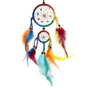 Rainbow Double Circle Hoop Colourful Feather Hippy Dreamcatcher for Nightmares - Fair Trade.