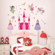 Wall Stickers Art Large Fairy Princess Unicorn & Castle Home Deco Wall Stickers