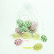 Bag of 18 Pastel Gingham Checked Easter Egg Decorations