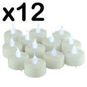 New - PACK OF 12 x LED FLICKERING TEA LIGHT CANDLES - NO HEAT - NO NAKED FLAMES - NO WAX - NO SMOKE - EASY & SAFE TO USE - AROUND CHILDREN & PET - BATTERY OPERATED TEA LIGHT / GREAT FOR HOME DECOR - PARTIES - GARDEN - OUTDOORS - FESTIVALS - BIRTHDAYS - ..