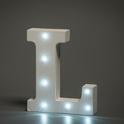 Up in Lights Decorative LED Alphabet White Wooden Letters - Letter L