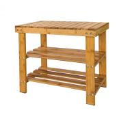 ARSUK 2 Tier Natural Bamboo Shoe Rack Bench Storage Organiser Holder 50 x 44 x 28cm