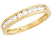 14k Yellow Gold White CZ Thin Eternity Band Design Ladies Ring
