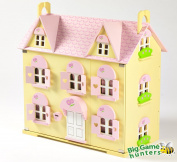 Butterbee Cottage Wooden Dolls House for Children with Curtains, 2 Staircases, Window Shutters and Flower Boxes
