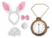 BUNNY SET FANCY DRESS ACCESSORY SET WONDERLAND RABBIT COSTUME EARS INFLATABLE MEDALLION POCKETWATCH CLOCK + BOWTIE + TAIL + NOSE & TEETH IN BLACK OR PINK BOOK WEEK