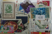 100 Malta stamps in packet (large)