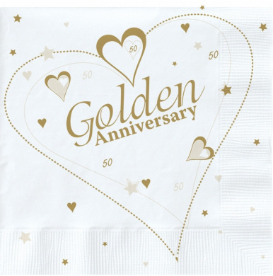 18 x Luxury Golden 50th Wedding Anniversary Party Napkins