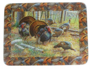 River's Edge Tempered Glass Cutting Board with an Image of a Flock of Turkeys Grazing in Woods
