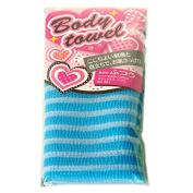 Japanese 28cm x 100cm 100% Nylon Blue Stripes Bath Body Wash Towel Scrub Cloth