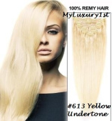 Remy Double Drawn Bleach Blonde #613 Clip in 119g Real Human Hair Extensions 60cm Length