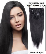 Remy Double Drawn Jet Black Clip in 119g Real Human Hair Extensions 60cm Length