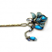 Retro Crystal Rhinestone Beautiful Flower Hair Pin Comb Fork Hair Stickfor Women/Girls,Set of 1,Blue