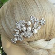 Sindary Wedding Headpiece Silver-tone Pearl Rhinestone Crystal Bridal Hair Comb