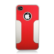 Aimo Wireless IPHONE4GPCAC003 Premium Chrome Aluminium Hard Case for iPhone 4 - Retail Packaging - Red w/Silver
