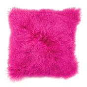 Premier Housewares Single/Side Real Mongolian Wool Cushion - Hot Pink