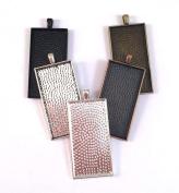 20 Deannassupplyshop Rectangle Pendant Trays - Multicolor - 25X50mm - Pendant Blanks Cameo Bezel Settings Photo Jewellery - Custom Jewellery Making