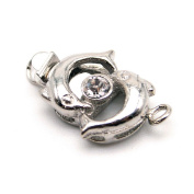 Beautiful Bead Kissing Fish 1 Strand Box Clasps for Jewellery Making Silver Colour