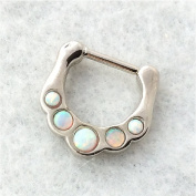 SEPTUM CLICKER Nose Ring, Opalite inset stones, stainless steel bar, 16 gauge, nose ring, body piercing