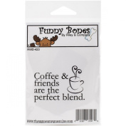 Riley & Company Funny Bones Cling Mounted Stamp, 5.7cm by 4.4cm , Coffee & Friends