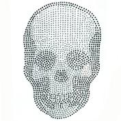 Korea Clothing Reform Rhinestone Hot Fix Motif Fashion Crystal Black Skull Deco 3 Sheets