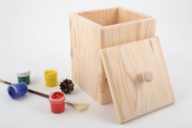 Handmade pine wood craft blank for decoration kitchen storage box with lid