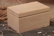 Handmade natural wood craft blank for decorative jewellery box with 2 departments