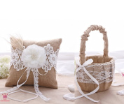 Rustic Wedding Hessian Burlap Lace Ring Pillow & Flower Girl Basket Set Party Favours