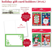 Christmas Gift Card Holders with Embellished Glitter and Foil Finish for Gift Cards Snowman, Santa, Snowflakes