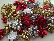 PEPPERLONELY Brand 50PC Red Gold Silver 2.5cm Metallic Christmas Mix Gift Wrap Bows