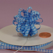 Light Blue Petite Gingham Bow, 0.6cm x 25 Yards