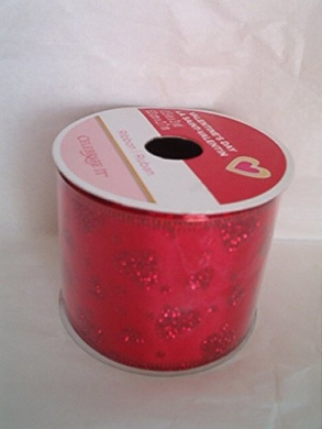 Celebrate It Valentine's Day Wired Edge Ribbon, 6.4cm x 3 yd, Red