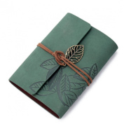 Wensltd Vintage Green Leaf Leather Cover Notebook Journal Diary Book