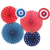 Aimeart Paper Fan Flower 6-piece Set Single Layer Party Decoration Accessory, Strip and Dot