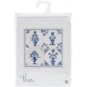 Thea Gouverneur 18 Count Antique Tiles, Floral Vases on Aida Counted Cross Stitch Kit, 28cm x 28cm