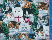 110cm Wide Fabric, Valentine's Kitties, Fabric By the Yard