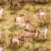 """1/2 Yard - Hunting Dogs """"On the Job!"""" 100% Cotton Fabric (Great for Quilting, Sewing, Craft Projects, Throw Pillows & More) 1/2 Yard X 110cm Wide"""