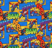 """1/2 Yard - Superman on Blue Cotton Fabric """"Whap! Bam Krack!"""" - Officially Licenced (Great for Quilting, Sewing, Craft Projects, Throw Pillows & More) 1/2 Yard X 110cm Wide"""