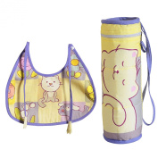 Digitally printed 300 TC Cotton Padded Bib And Bottle Cover Set For Infant Kids-Duckling