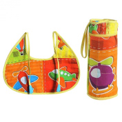 Digitally printed 300 TC Cotton Quilted Bib And Bottle Cover Set For Infant Kids-Aero