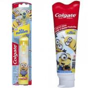 Colgate Kids Minions Power Toothbrush + Colgate Minions Mild Bubble Fruit Fluoride Toothpaste, 140ml