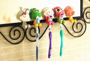 SFamily Creative Cute Cartoon Animals Toothbrush Holder Cover with Suction Cup,Set of 5