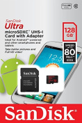 SanDisk Ultra 128GB microSDXC UHS-I Card with Adapter, Black, Standard Packaging