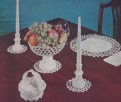 "Vintage Crochet PATTERN to make - ""Milk Glass"" Candlesticks Compote Placemat Candy Basket. NOT a finished item. This is a pattern and/or instructions to make the item only."