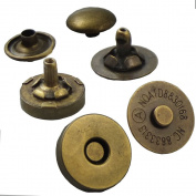 "Bluemoona 20 Sets - 14mm 9/16"" Magnetic snaps purse Double Rivet closures Round Clasp Stud Button Bag Leather Bronze"