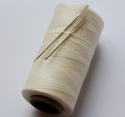CHENGYIDA WHITE STRONG WAXED HAND SEWING THREAD FOR LEATHER/CANVAS & 2 LARGE EYE NEEDLES